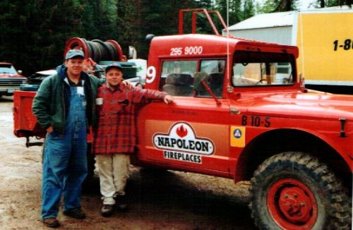 Woody and Kevin with the Jeep.